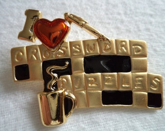 Vintage Signed Danecraft  Crossword Puzzle Brooch/Pin