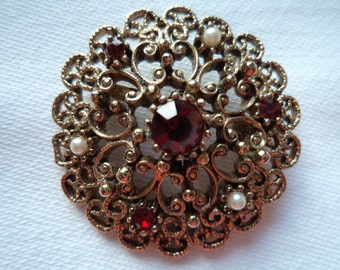 Vintage Signed JJ Bronze pewter Red Rhinestone and Pearl Brooch/Pin