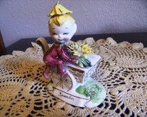 Norcrest November Chrysanthemum Pixie Figurine, flower cart and fairy ceramic November pixie figureine collectible keepsake yellow mum pixie