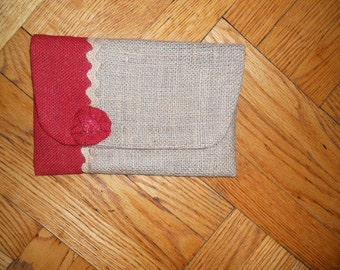 Natural  and Red burlap jute clutch purse, upcycled burlap clutch purse