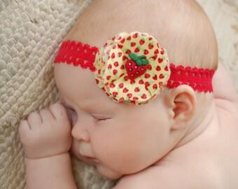 Strawberry Fabric Flower headband