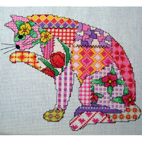 Patchwork Cat cross stitch Pattern. PDF instant download