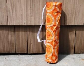Yoga Mat Tote Bag Orange Geometric Cotton Twill