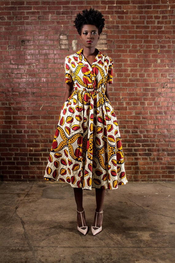 NEW The Portia Dress- African Print  100% Holland Wax Cotton Midi Dress