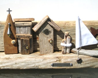 Driftwood Art,Little Houses,Wood House,Wood Anniversary,Wood Sail Boat,Drift Wood Art,Ocean Decor,Beach Scene,Beach Decor,Wood Wall Art