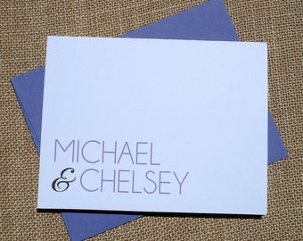 Set of 30 Personalized Wedding Thank You Note Card - CHOOSE YOUR COLORS