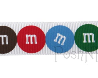 7/8 INCH M & M Candy White Print Grosgrain Ribbon- 3 Yards