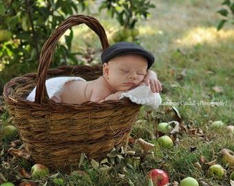 Newborn baby hats, boy baby photo props, gray baby hat, newborn photography prop, newborn photo prop newsboy hats - made to order