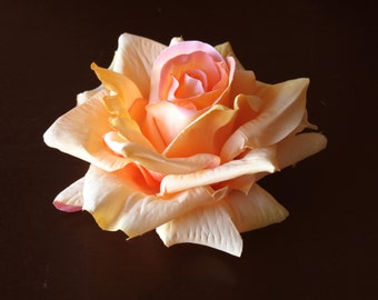 Peach Bridal Flower Hair  Clip Wedding Hair Clip  Wedding Accessory Orange Rose Bridal Hair Clip