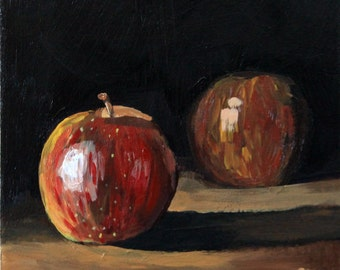 "Small original still life painting 6x6"" apple acrylic on panel black red brown impressionist fruit art by Cristina Jacó"