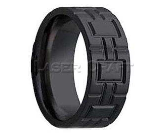 Personalized Engraved Black Zirconium Wedding Band Flat Milled Pattern 6mm-8mm (Free Laser Engraving)