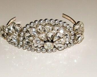 SALE Art Deco Tiara, Gatsby Tiara, Crystal Diamante and Pearl Wedding Headdress, Silver Vintage Style Tiara, Wedding Tiara, Crystal Tiara.