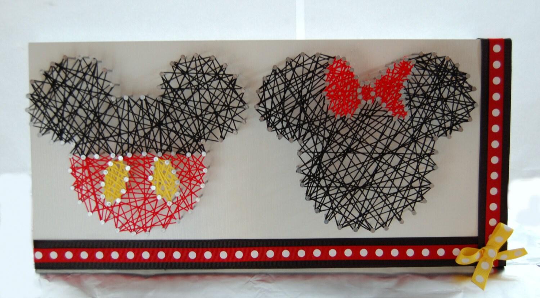 Mickey and minnie string art disney string art custom wall for Custom wall art
