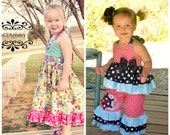SALE..Buy 2 get 1 Free..Instant Download PDF Sewing Pattern Tutorial Allison Dress & Double Ruffle Halter Top for Girls, 6-12 M to 8