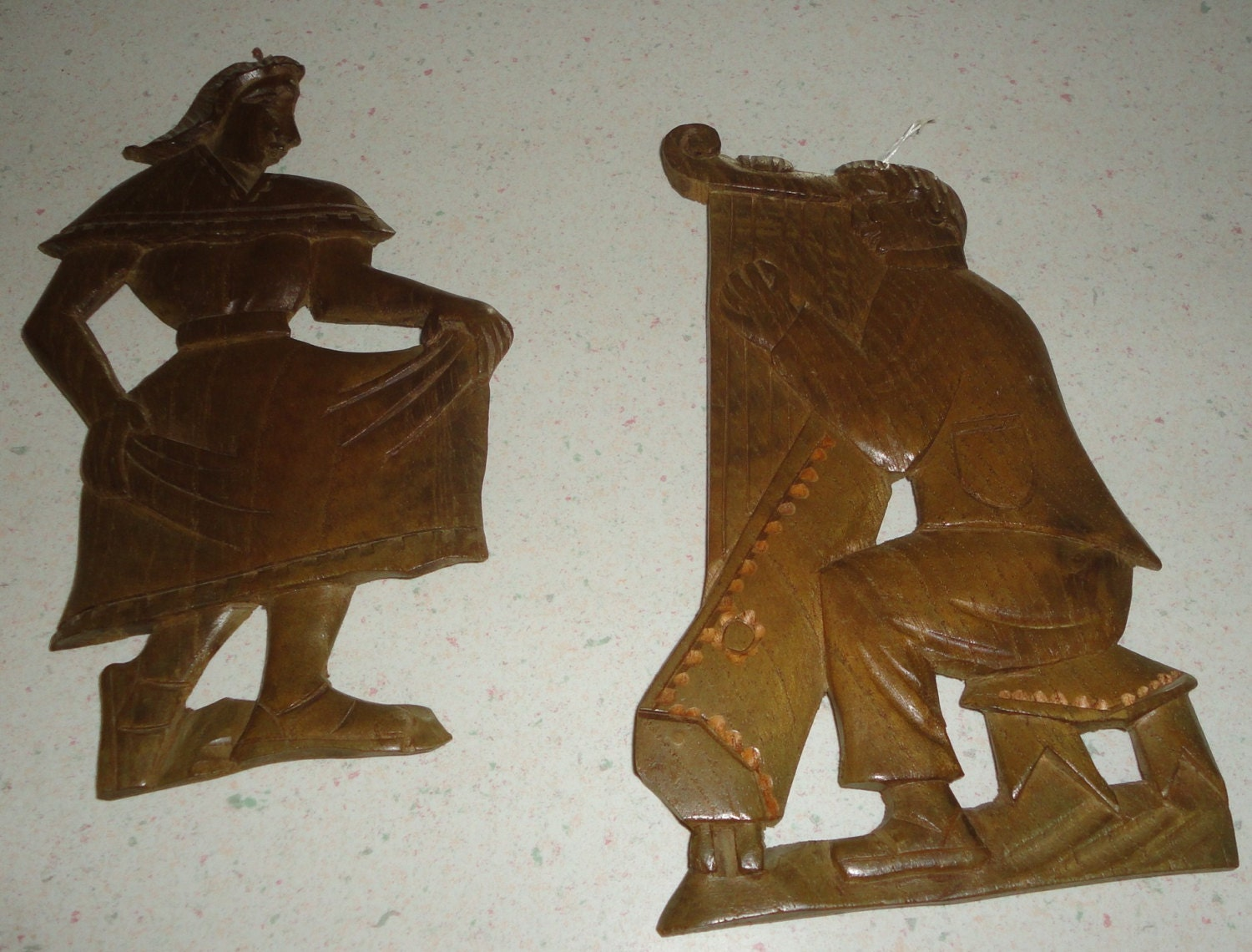 Hand Carved Wooden Plaques Lot Of 2 Vintage Wall By Treazurzs