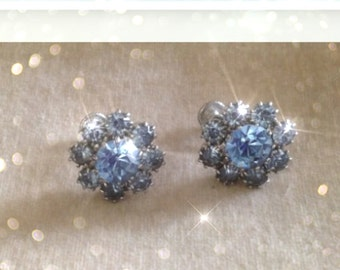 Vintage Baby Blue Rhinestone screw back earrings
