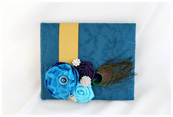READY TO SHIP Wedding Lace Guest Book Custom Bridal Flower Brooch Guest Books in Teal, Gold and Purple and Turquoise with Peacock Feather