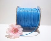 10 Yards of 1mm Cyan Blue Waxed Polyester Cord