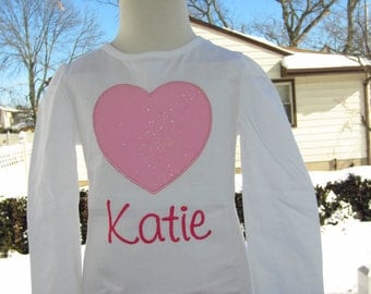 Glittery heart top any color