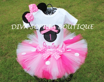 Pink Personalized Minnie Mouse Tutu Set with Number -  Birthday Set