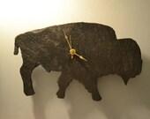 Buffalo shaped Slate Clock - Black Slate Clock