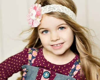 Pink Off White Girl  Headband , Frayed Fabric Flower Headband with Rosette  on elastic lace for babies girls  in all age  Spring