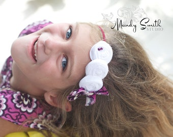 White Plum Fabric Headband ,Triple Han Made White Rosettes for Baby girls toddlers infants women
