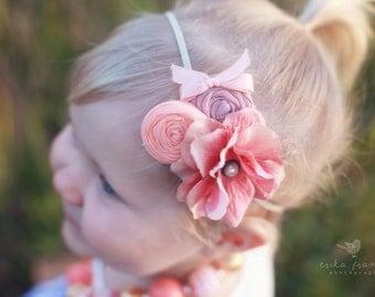 Peach Dusty Pink Headband, Pink Flower Double Rosettes Headband  for babies girls