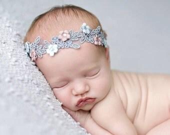 Pink Blue Baby Photo Prop ,Newborn Dainty  Headband ; Baby Girl Photo Prop halo