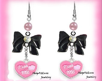 Super Cute Heart And Bow Earrings - Original Design By ShopAtLuxe