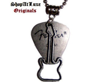 FENDER Steel Guitar Pick Necklace with New Style of Electric Guitar Dangle