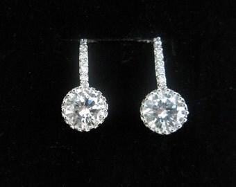 Sterling Silver CZ Earrings. Sparkle Cubic Zirconia Earrings. Dangle Bridesmaid Jewelry. Bride Earrings. Sterling Silver. Sparkle Jewelry
