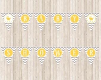 Chevron Baby Shower Banner in yellow and gray