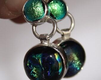 Dichroic Glass Bezel set in Sterling Silver Earrings