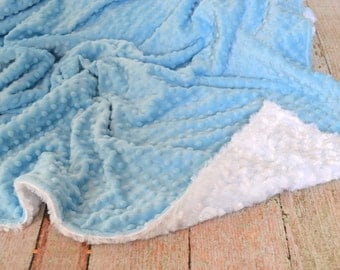 Baby Blue and White Blanket - Ultra Soft Minky Blanket - Personalized Blue and White Baby Blanket
