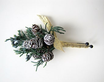 Frosted Pinecone Boutonniere - Pin On Boutonniere - Boutonniere - Rustic Wedding - Woodland Wedding - Winter Wedding