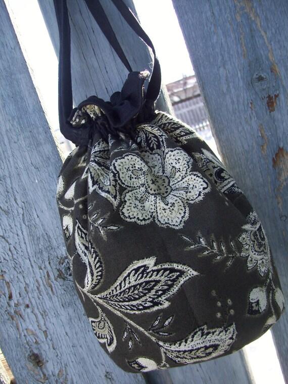 Floral Wristlet, Drawstring Bag
