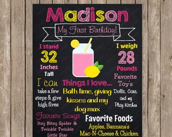 Pink Lemonade Chalkboard Custom Color Printable Poster  - Digital File
