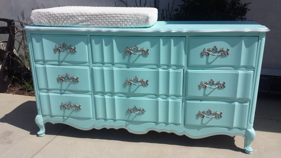 Tiffany Blue Vintage French Provincial 9 Drawer Dresser By