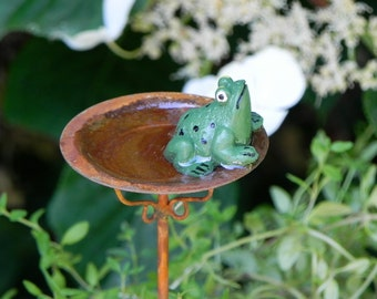 Fairy Garden Birdbath miniature bird bath with frog and artificial water  for terrarium accessories