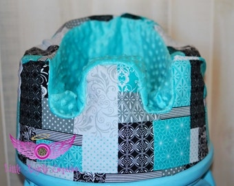 Aqua and Black Bumbo Seat Cover - Bumbo Cover- Baby Blue- Turquoise- Teal