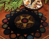 KIT----Scrappy Primitive Pennies Penny Rug Applique Pattern with WOOL KIT