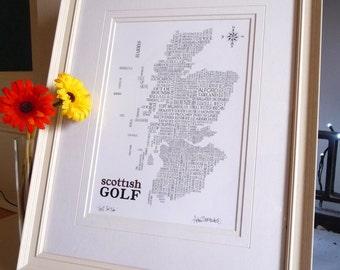 Golfing map of Scotland
