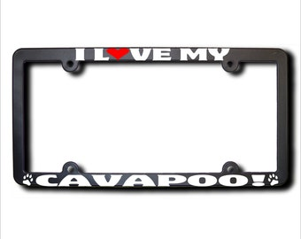 I Love My Cavapoo License Plate Frame USA (T)