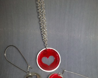hand made sterling silver heart pendant and earrings set