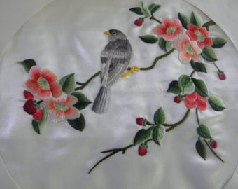 Silk Embroidered with Flowers and Bird