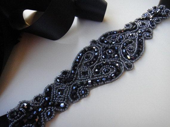 Black Crystal Bridal Sash Belt Black By Jaimebridalcouture