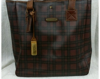 Vintage Polo Ralph Lauren Red Brown Plaid Oversized Tote Travel Bag