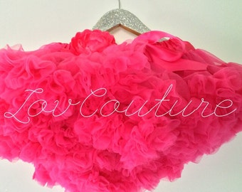 Hot Pink Deluxe Full and Fluffy Chiffon Pettiskirt