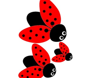 Spring Lady Bug Window Cling Set of 3